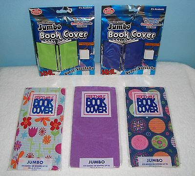 Lot of 5 Stretchable TEXT BOOK COVERS Jumbo * Blue Green Purple Butterflies