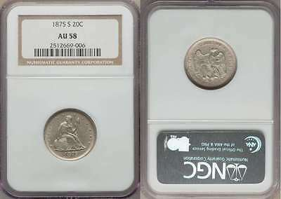 1875 Twenty-Cent San Francisco Mint About Uncirculated Silver Coin NGC AU58