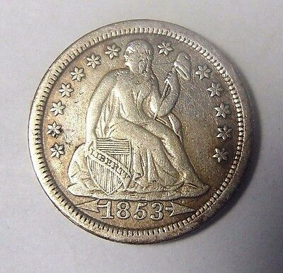 1853 Seated Silver Dime Nice High Grade Circulated Coin