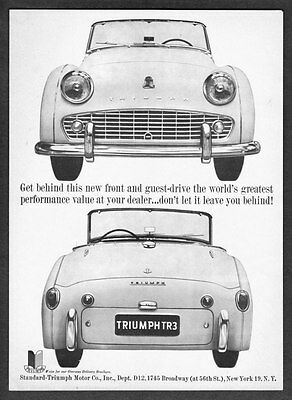"1959 Triumph TR-3 TR3 Convertible photo ""Don't Be Left Behind"" vintage print ad"