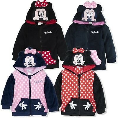 Disney Minnie Mouse Baby Girls Warm Zipped Hoodie Coral Fleece 6 Months-3 Years