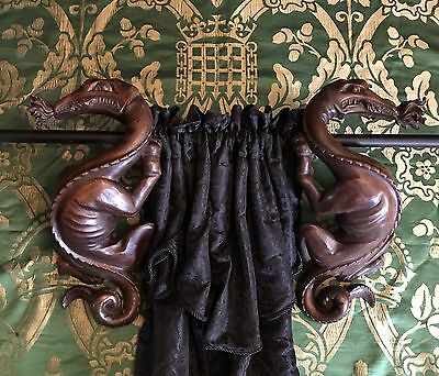 Antique Carved Gothic Dragon Curtain Rod Holders 19th Century Medieval Beasts