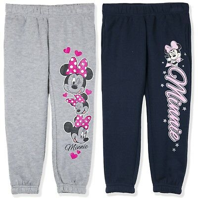 Disney Minnie Mouse Character Girls Joggers Trousers Bottoms Sport Style 2-8 Yrs