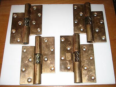 2 Pairs Vintage HEAVY DUTY Brass RISING BUTT HINGES Left & Right Pairs