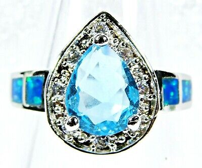Silver 925 SF Size 7 Ring Blue Lab Fire Opal 9.5*7.5mm Cabochon /& White Topaz
