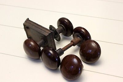 Lot of 6 (2 Sets + 2) Antique Brown Porcelain Door Knobs w/ Hardware & 1 Lock