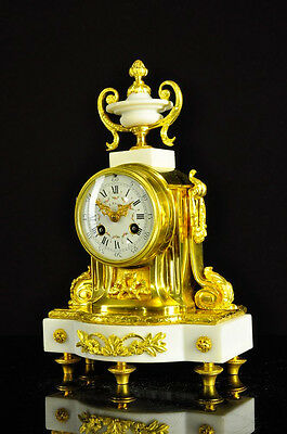 Superb Antique French Marble Bronze Ormolu 8 Day Strike Mantel Clock approx.1890