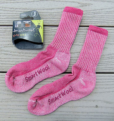 NWT SMARTWOOL Kids Hike Medium Cushion Crew Socks-L (Fit US 5-7.5) Ret@$12 PEONY