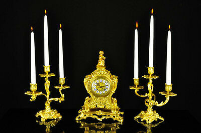 Superb Antique French Gilt Bronze Mantel Clock Set w. Candle holder approx.1880