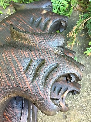 4 Victorian Lion Head Corbel Newel Post Finial Shelf Ornate Architecture Salvage