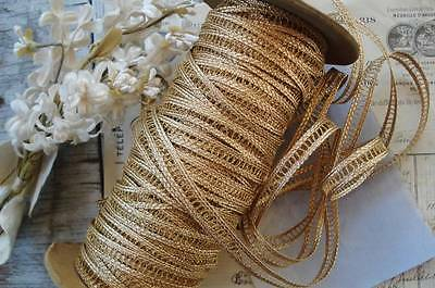 1y ANTIQUE VINTAGE FRENCH GOLD METALLIC INSERT LACE BRAID JACQUARD RIBBON TRIM