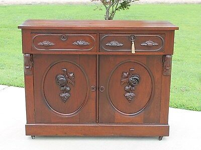 Victorian Renaissance Revival Walnut Buffet Sideboard Carved Fruit w Key c1875