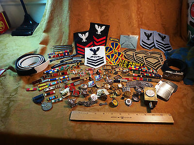 Huge Lot Of US Military Pins - Patches - Belt Buckle - Ribbons - Free S&H USA