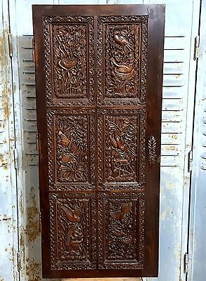 PARADISE CABINET PANEL DOOR MATCHED PAIR ANTIQUE FRENCH HAND CARVED WOOD 19 th a