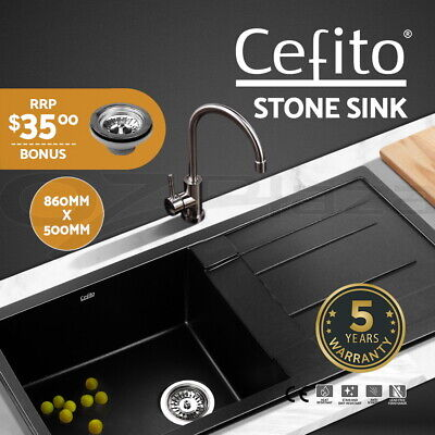 Cefito 860x500mm Black Kitchen Sink Granite Stone Top/Undermount Bowl Laundry