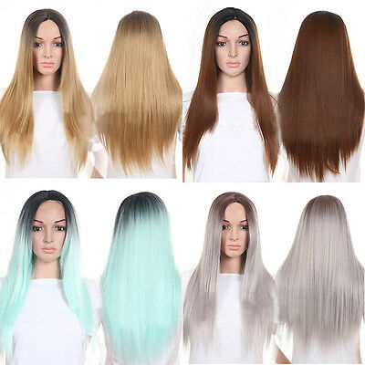 Hair Wigs Womens Long Straight Glueless Lace Front Full Wig Colorful for Party