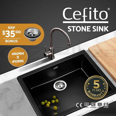 Cefito 460x410mm Granite Stone Kitchen Sink Top/Undermount Stainless Steel Black