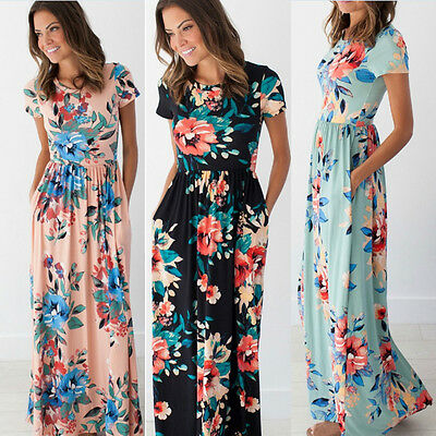 Womens Floral Print Short Sleeve Dress Ladies Evening Party Long Maxi Dress UK