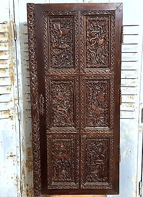 PARADISE CABINET PANEL DOOR MATCHED PAIR ANTIQUE FRENCH HAND CARVED WOOD 19 th b