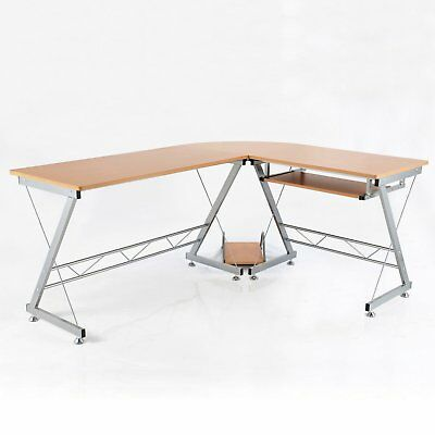 "67"" L-shaped Corner Computer Desk Table Home Office Study Workstation CPU Stand"