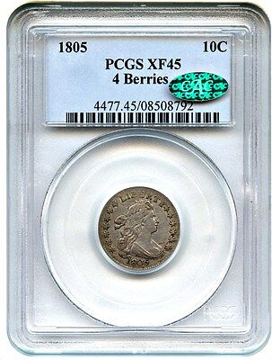 1805 10c PCGS/CAC XF45 (4 Berries) Wholesome Type Coin - Bust Dime