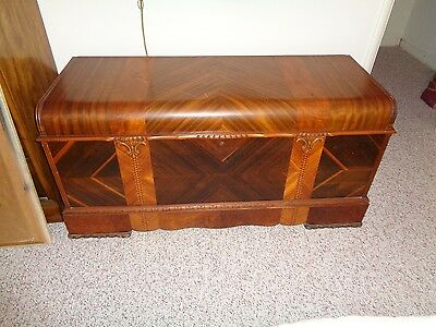 Vintage Large Ed Roos Cedar  Multicolored  Wooden Chest