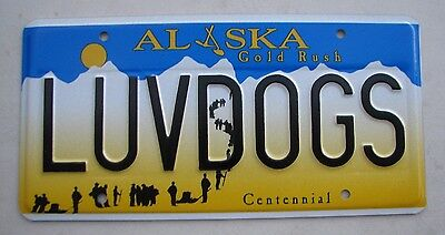"""AK VANITY License Plate """" LUV DOGS """" LABS POODLE BEAGLE DALMATION HOUND DOG CHOW"""