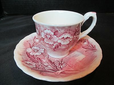 Grindley Trellis Red England Demitasse Cup and Saucer