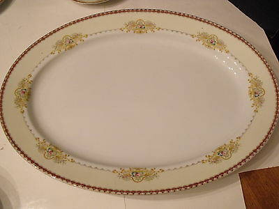 Meito Dover China Made in Japan Serving Platter Red Band Pink Floral on Cream
