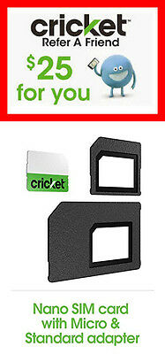 FAST! CRICKET WIRELESS - Up to $90 Referral Credit +3in1 SIM CARD STARTER KIT