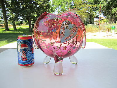 Huge Antique Cranbery Footed Enamel Heart & Coat Of Arms Decorated Rosebowl Vase
