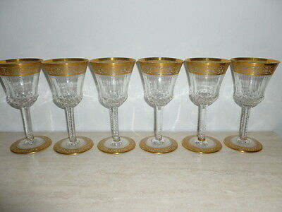 6 x Saint Louis Thistle Wein Gläser - St Louis France -14.2 cm -Signiert - Top!