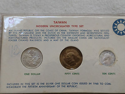 1960 Uncirculated Coin Set of Taiwan w/ Silver $ Coin