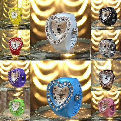 Fashion Women Candy Colors Love Heart Crystal Numeral Quatz Finger Ring Watch