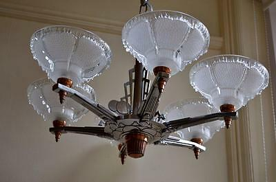1930s FRENCH ART DECO 6-BRANCH ICICLE SHADE Chrysler Building CHROME CHANDELIER