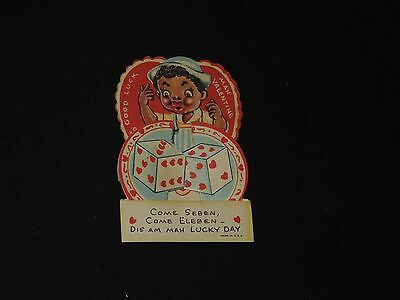 Vintage Valentine's Day Greeting Lucky Day Black Memorabilia Americana (*423)