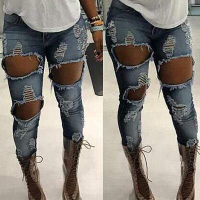 Women Long Ripped Denim Holes Jeans Pencil Stretch Pants Skinny Trousers US HK