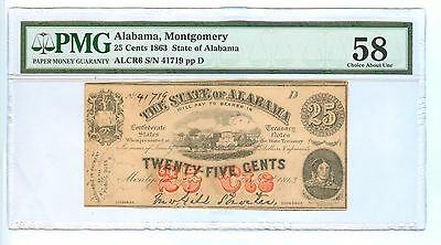 1863 Twenty Five Cents Alabama, Montgomery Pmg-58 Choice About Unc