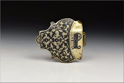 17th / 18th Ottoman Empire Turkish Silver Niello Buckle w/ Animal