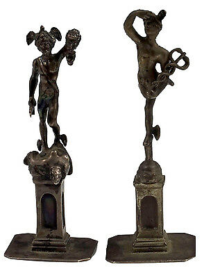 Nice Pair of Solid Cast Silver Figurines of Mercury