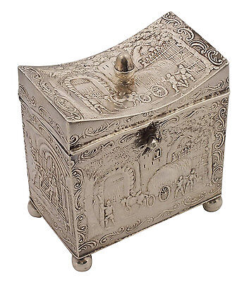 Wonderful Continental Silver Tea Caddy  w/ Figural Acorn Finial & Cherub