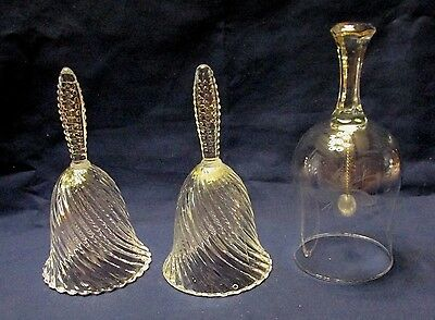 Art Glass Lead Crystal Bells  Lot Of 3 Pieces I Etched With Butterfly   # 828
