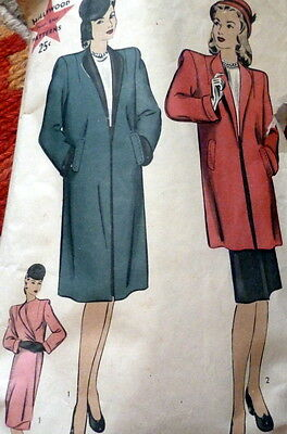 LOVELY VTG 1940s COAT HOLLYWOOD Sewing Pattern 14/32