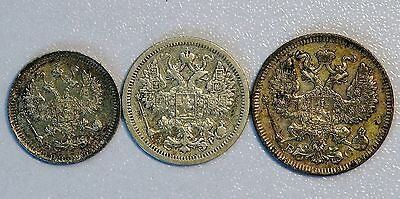 Set of 3 Russia 10 15 20 Kopeks Coins 1915 1902 1914 NICE COINS (LV#723)