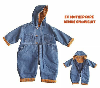 Baby Boys Pramsuit Snowsuit Winter Coat Denim Hooded Fully Lined All In One