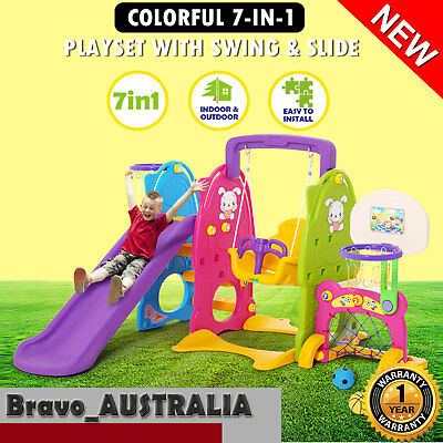 Kids Fun Outdoor Play Colorful 7-in-1 Play Station Set w/ Swing & Slide Toys