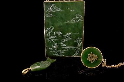 3 Vintage Collection Of Chinese Spinach Jade Silver Fish Pendants