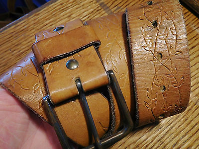 Vintage 1 3/4 Thick Brown Tooled Leather Western Style Belt Size 36