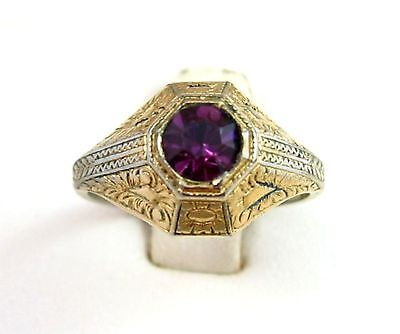 18K Gold Electro Plate RING Vintage PURPLE Rhinestone Intricate Raised  Size 7