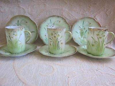 vintage 1925 hand painted COFFEE - DEMITASSE CUPS & SAUCER sets imperfect CEYLON